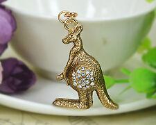 Kangaroo Animal Keyring Rhinestone Crystal Charm Pendant Key Bag Chain Gift New