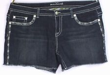 NEW Maurices Blue Size 24 Shorts Denim Cut-offs Rhinestones Embroidery Stretch