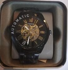 Brand New Fossil Mens Automatic Watch BQ2092 Gold & Black Skeleton RRP: £239