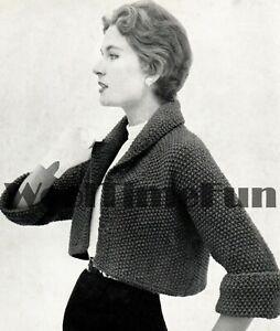 Knitting Pattern Vintage 1950s Ladies Short Jacket/Cardigan. Easy/Quick Make