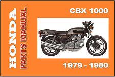 HONDA Parts Manual CBX 1000 CBX1000 1979 & 1980 Replacement Spares Catalog List