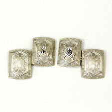 Masons double sided cufflinks Vintage 14ct white gold
