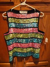 Joseph A Square Sequin Top Shell Black Knit, Lime Green Turquoise Pink M 8 10 12