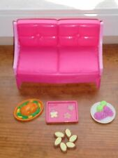 Barbie Pink Sofa Couch Furniture Serving Tray & Food Pieces Toys Accessories Lot