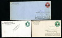 US Lot of 3 Scarce Early Mint Specimen Stationary Envelopes