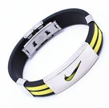 YELLOW ONE Stainless Steel Nike Sports Silicone Wristband Bracelet