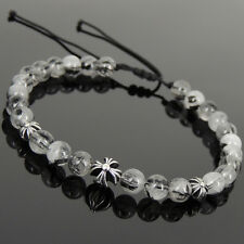 Men's Women Braided Bracelet Black Rutilated Quartz Sterling Silver Cross 1085
