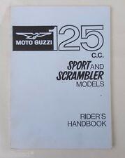 1966 MOTO GUZZI  125cc SPORT & SCRAMBLER MODELS MOTORCYCLE RIDER`S HANDBOOK