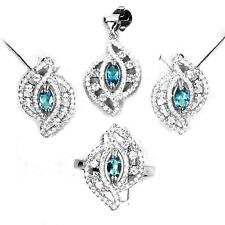 Set Blue topaz Silver 925. Pendant + chain, ring, earrings