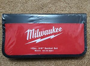 "Sealed NEW Milwaukee 48-22-9001 12 Piece 3/8"" Drive Metric Socket Set Tool Case"