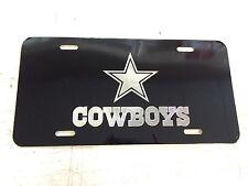 Dallas Cowboys Car Tag Diamond Etched on Black Aluminum License Plate