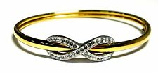 "925 & 9ct BONDED GOLD White CRYSTAL Infinity Bracelet Bangle, 7"" 7.90g - C86"