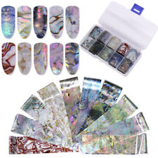 10Pcs/Box Holographic Nail Foil Seashell Pearl Gloss Nail Art Transfer Stickers