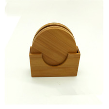 Set of 4 Circular Bamboo Coasters Round Tea Holder Coffee Pad Table With Stand