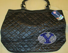 NWT! BRIGHAM YOUNG UNIVERSITY QUILTED TOTE BAG! BLACK WITH BLING!