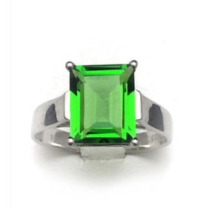 R0737G Mt. St Helens Green Helenite 8x10mm Rectangle 1.62Ct Sterling Silver Ring