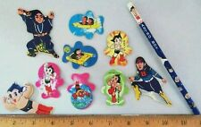 9 Vtg New Hero Astro Boy Anime Cardboard Cutout Trading Cards & Pencil, Japan
