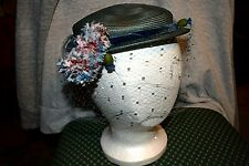 Vintage Jan Leslie Woman's Blue Hat with Flower & Veil