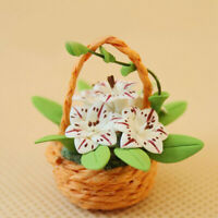 HX- Miniature Knitted Wooden Flower Basket Handmade Art Crafts 1/12 Dollhouse Su