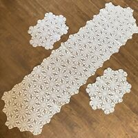 3 Pc Lot Vintage Handmade Crochet Lace Floral Table Runner Doilies Off White