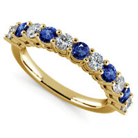 0.98 Ct Real Blue Sapphire Ring 14K Yellow Gold Diamond Eternity Band Size M N O