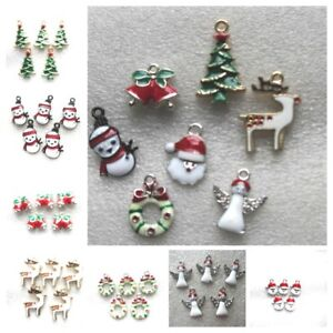 5-100 Christmas Charm Enamel Colourful Gold Plated Gift Jewellery Making Pendant