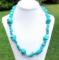 Long Nugget Chunky Turquoise Necklace Beaded Gemstone 25 Inches