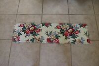 Vintage Floral Barkcloth Fabric Table Runner 12.5  X 46 Tropical Palm Tree