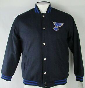 St. Louis Blues NHL Men's Navy Blue G-III Snap Up Varsity Jacket M