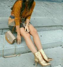 ZARA metallic Gold snake skin leather high Heel ankle Boots Shoes UK 5 Eu 38