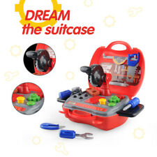 Durable Construction Power Tools Kids Pretend Play Box Hammer Saw Accessories