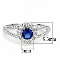 Womens 0.5 Ct Round Cut Sapphire Blue CZ Stainless Steel Promise Cocktail Ring