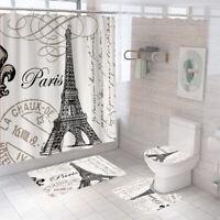 Eiffel Tower Shower Curtain Bathroom Rug Set Bath Mat Non-Slip Toilet Lid Cover