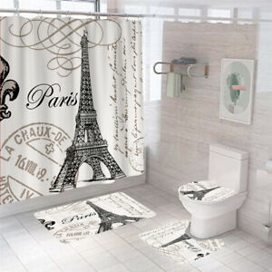 Eiffel Tower Shower Curtain Bathroom Rug Set Bath Mat Non-Slip Toilet Lid Cover