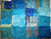 "LOT PURE SILK Vintage Sari Fabrics REMNANT 16 pcs 8"" SQUARES Aqua Blue JOURNAL"