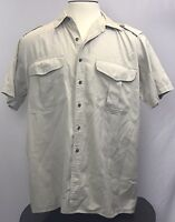 Mens Roundtree & Yorke X-Large Tan Beige Short Sleeve Button Front Shirt