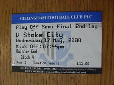 17/05/2000 BIGLIETTO: play-off semi-finale Division 2-Gillingham V Stoke City (FOL