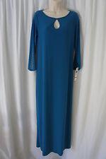 Tiana B Dress Sz 8 Peacock Blue Gold Studded Jersey Knit Cocktail Shift Dress