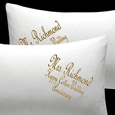 Personalised pillow cases Bride Groom Wedding or Cotton Wedding Anniversary gift