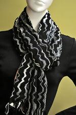 MISSONI Italy womens zig zag black camel pink wool scarf shawl pashmina