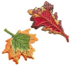LEAVES -AUTUMN FALL LEAVES (SET OF 2) FULLY EMBROIDERED IRON ON APPLIQUE PATCH