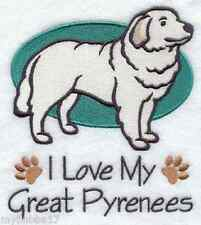 GREAT PYRENEES  I LOVE MY SET OF 2 BATH HAND TOWELS EMBROIDERED