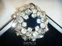 LARGE SIGNED SPHINX VINTAGE Clear CRYSTAL RHINESTONE CRESCENT MOONS BROOCH