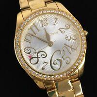 Betsey Betsy Johnson Round Rhinestone Gold Tone Pink Heart Hand Wristwatch Watch