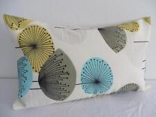 50's Retro Dandelion Clocks Ivory/Yellow/Aqua Oblong/Rectangle Cushion Cover