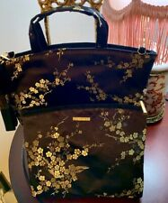 Cosmetic Bags New Set of 2  Black & Gold Floral SatinCelebrity