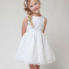 Toddler Kids Flower Girl Dress White Tutu Tulle Dress Wedding Formal Party 1-13Y