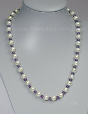 Unikat Halskette Collier aus weissen Perlen und Amethyst Geschenk 1770
