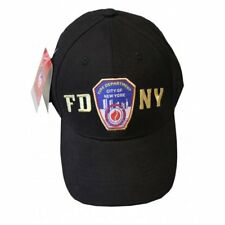 FDNY BASEBALL HAT BALL CAP BLACK YELLOW FIRE DEPARTMENT NEW YORK  BADGE MENS