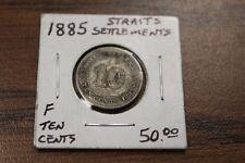 1885 STRAITS SETTLEMENTS TEN CENT SILVER QUEEN VICTORIA COIN